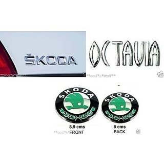 Skoda OCTAVIA car Monogram Emblem Chrome Skoda Car Monogram Logo Emblem