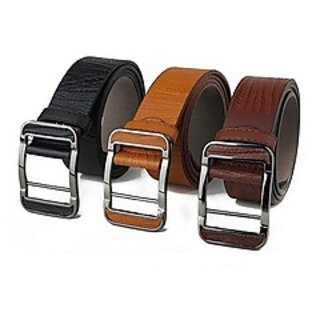 3PC OF COMBO LEATHER BELTS (Synthetic leather/Rexine)