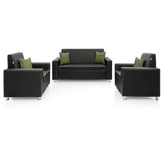 Earthwood Lincoln Solidwood 5 Seater Sofa Set in Black PU upholstery without Cushions