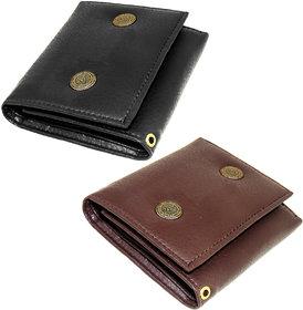 Genuine Black / Brown Leather Wallet Tri fold For Men