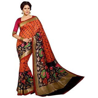 Aarsh Apparel Cotton Printed Bhagalpuri Saree with Blouse