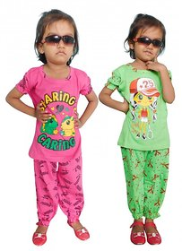 Jisha Fashion Cotton Blend MulticolourGirls Top and Payjama Set (Combo of 2)