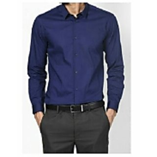 NAVY -BLUE COTTON BLAND SOLID SHIRT FABRIC (UN-STICHED)