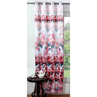 Lushomes Digitally Printed Red Blossom Polyester Blackout Curtains for Doors (Single pc)