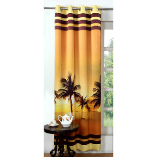 Lushomes Digitally Printed Beach Polyester Blackout Curtains for Long Doors (Single pc)