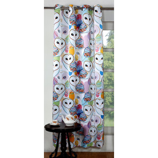 Lushomes Digitally Printed Owl Polyester Blackout Curtains for Long Doors (Single pc)