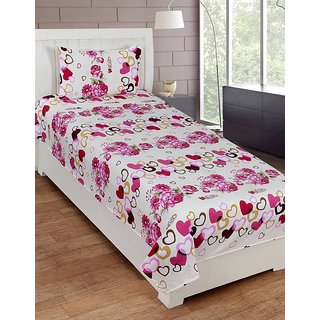 ShopSince Floral Single Bedsheet with 1 Pillow Cover