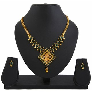 Diva Goddess GreenLaxmi Temple Jewellery Pendant Earrings Set-421