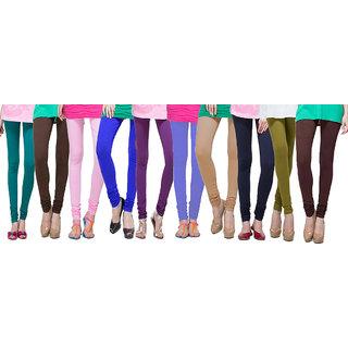 Escan Multicolor Lycra Solid Leggings (Pack of 10)