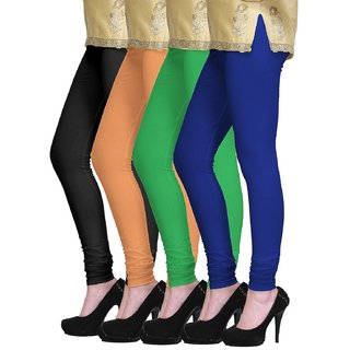 Escan Multicolor Lycra Solid Leggings (Pack of 4)