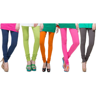Escan Multicolor Lycra Solid Leggings (Pack of 5)
