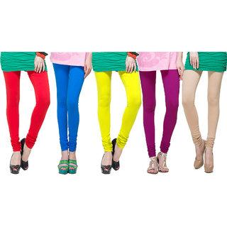 Escan Multicolor Lycra Solid Leggings (Pack of 5)