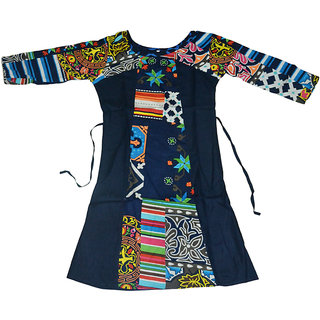 Rayon Sleeve Digital Print Blue Kurti D8