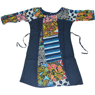 Rayon Sleeve Digital Print Blue Kurti E8