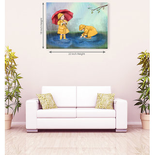 Play Kids In Rain Romantic Canvas Painting