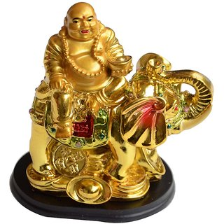 Laughing Buddha ON A ELEPHANT FOR LUCK AND STABILITY