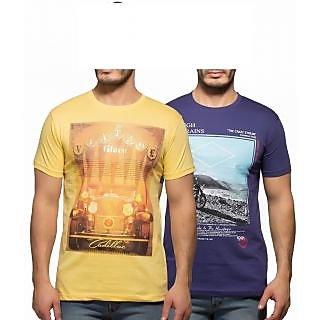 Yo Republic Mens Cotton Tshirt Combo Offer (Pack of 2)(AT-0052-1YellowPurple)