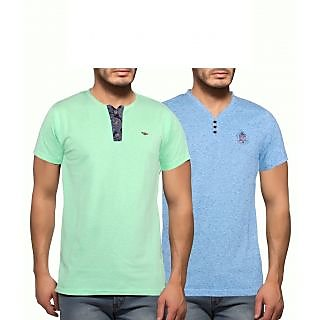 Getzen Mens Cotton Tshirt Combo Offer (Pack of 2)(AT-0122-1 GreenTurquoise)