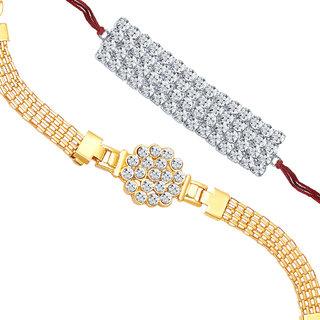 Sukkhi Gold and Rhodium Plated Set of 2 Designer Rakhi Combo