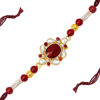 Sukkhi Delightful Gold Plated Designer Kundan Rakhi