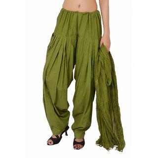 Escan Green Cotton Plain Salwar Dupatta Set