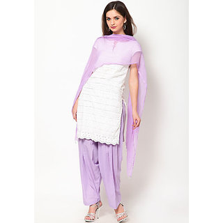 Escan Purple Cotton Plain Salwar Dupatta Set