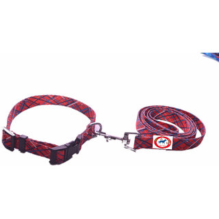 PET CLUB51 HIGH QUALITY PRINTED COLLAR AND LEASH-LARGE-RED-25MM