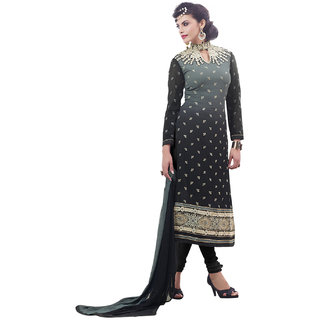 Surat Tex Grey  Black Color Party Wear Embroidered Faux Georgette Semi-Stitched Salwar Suit-I254DL1103
