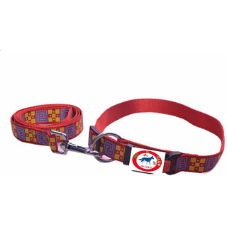 PET CLUB51 HIGH QUALITY PRINTED COLLAR AND LEASH-MEDIUM-RED PRINTED-20MM