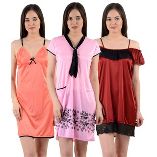 6c8003c2dc Buy Cliths Womens Stylish Sexy Nighty-Pack of 3 CL-NTY-394045 Online - Get  61% Off
