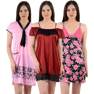 76218d55c8 Buy Cliths Womens Stylish Sexy Nighty-Pack of 3 CL-NTY-404546 Online - Get  61% Off