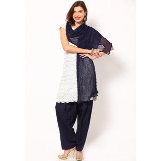 Escan Blue Cotton Plain Salwar Dupatta Set