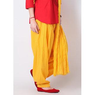 Escan Yellow Cotton Plain Salwar Dupatta Set