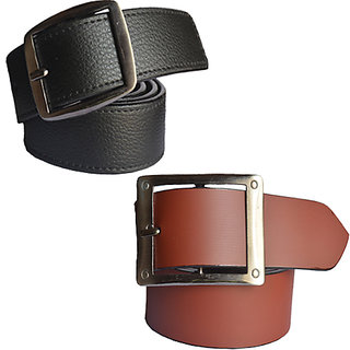 Sunshopping mens black and brown Leatherite H pin point buckle belt (COMBO)