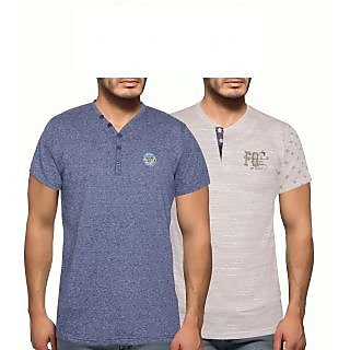 Getzen Mens Cotton Tshirt Combo Offer (Pack of 2)(AT-0137-1 BlueBrown)