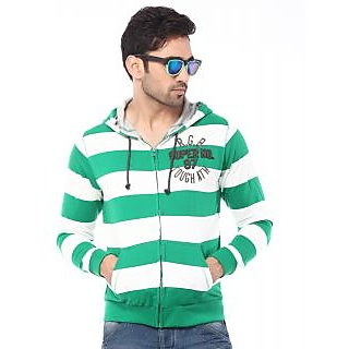 Rugby Hooded F/Slv  100 cotton Striper With Front Kangaroo Pocket T-shirt-RG-1607 (GREEN)