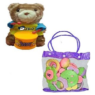 Baby Pouch of 7 pcs Rattle with Windup Teddy Bear Drummer Sound Toy for Kids