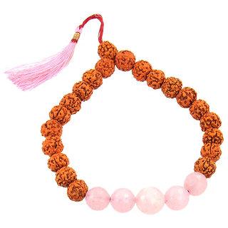 Panch Mukhi Rudraksha With Rose Quartz Stone Bracelet
