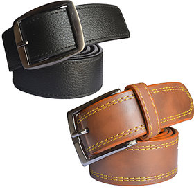 Black & Brown Leatherite Belt For Mens