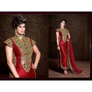 Angel garment Red Banglori Mirror Embroidery Work Salwar Suit Party