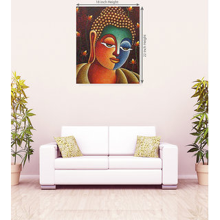 God Buddha Blue Color With Blue Peacock Canvas Painting
