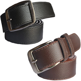 Black & Brown Leatherite Belt For Mens (Synthetic leather/Rexine)