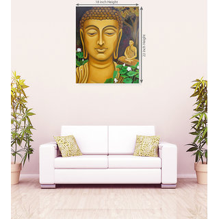 Lord Buddha With White Lotus Flower Canvas Painting