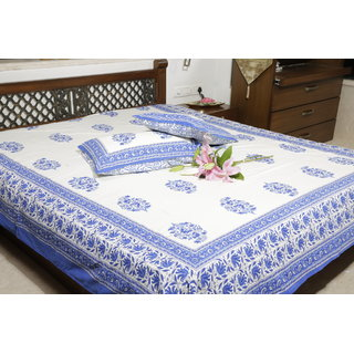 Jodhaa Double bedsheet Set in Cotton Printed in off White and Blue Floral Print with Blue Border- Queen Size