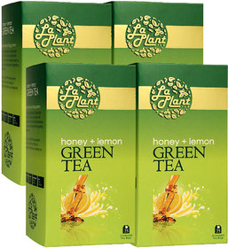 LaPlant Honey  Lemon Green Tea - 100 Tea Bags (Pack of 4)