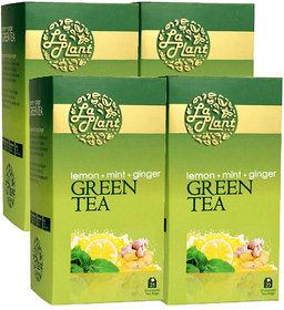 Laplant Lemon, Mint  Ginger Green Tea - 100 Tea Bags (Pack of 4)