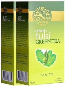 LaPlant Tulsi Green Tea, Long Leaf - 200 gm (Pack of 2)