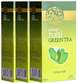 LaPlant Tulsi Green Tea, Long Leaf - 300 gm (Pack of 3)