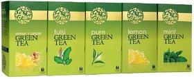 LaPlant Green Tea Combo I - 125 Tea Bags (Pack of 5 Pure, Lemon, Tulsi, Mint  Lemon-Ginger)