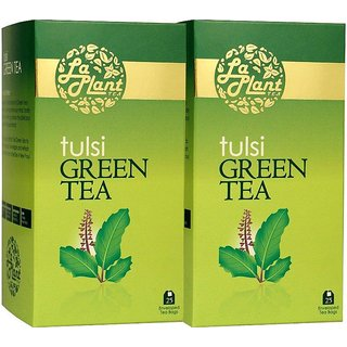LaPlant Tulsi Green Tea - 50 Tea Bags (Pack of 2)